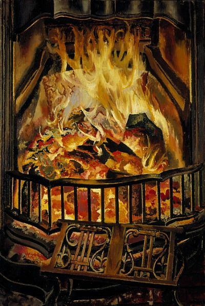 STANLEY SPENCER Fire Alight (1936)……SOME BLAZING, RIP ROARER YOU GOT GOING THERE MR. STANLEY SPENCER……..ccp