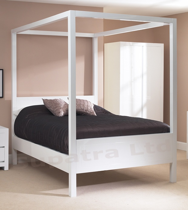 Contemporary Four Poster Bed zen white four poster bed - our contemporary four poster bed