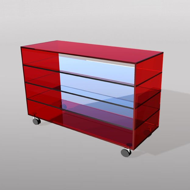 #TIVEDO Versatile cabinet extra-clear cut glass comprising painted shelves. Available in 3 versions.