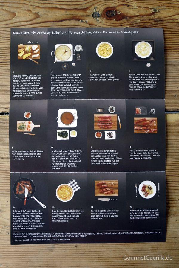 Kochhaus: Lammfilet mit Aprikose, Salbei und Parmaschinken, dazu Birnen- Kartoffelgratin