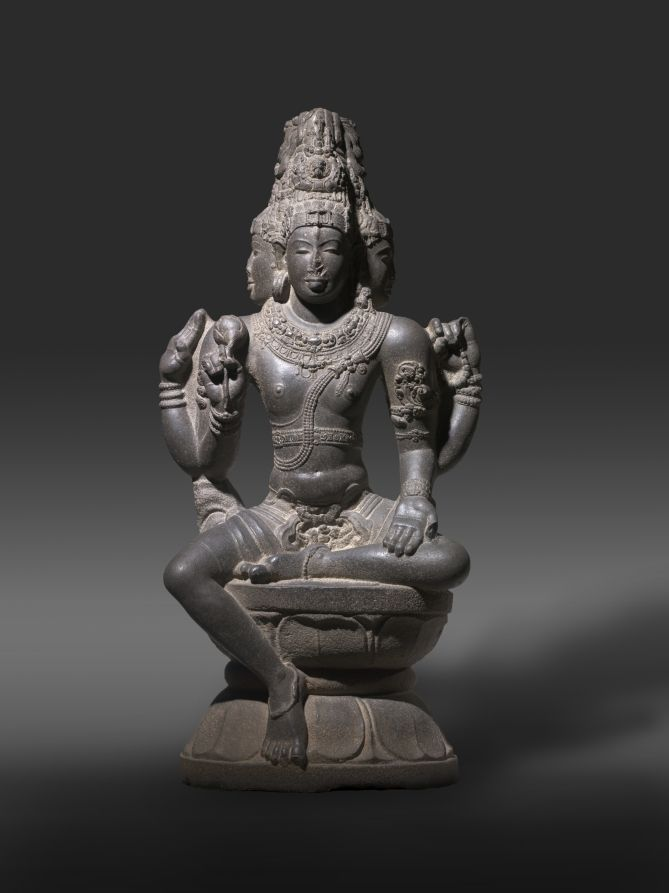 Brahma, late 900s-1000s South India, Tamil Nadu, Chola dynasty, late 10th - early 11th century granite, Overall - h:162.60 d:48.00 l:80.00 cm (h:64 d:18 7/8 l:31 7/16 inches). Leonard C. Hanna, Jr. Fund, this work was accepted in honor of Stanislaw Czuma in recognition of his long service to the CMA 2007.155   Cleveland Museum of Art
