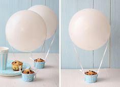 Magdalenas globo aerostático: magdalenas con chips de chocolate