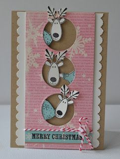 It's not Rudolph, but 3 of his friends are peeking in to wish you a Merry Christmas on this handmade card!