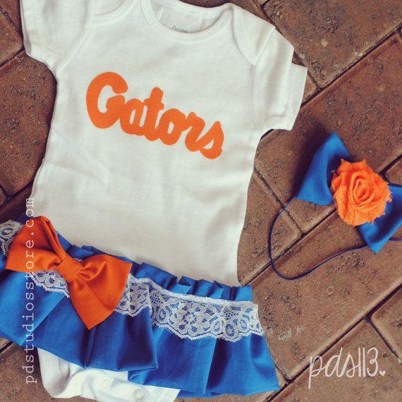Baby Girl Florida Gators, Football University Theme, Dress with Lace Ruffles, Bow and Headband on Etsy, $25.00