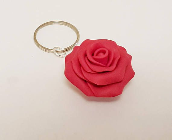 Red Rose Key Chain Polymer Clay Rose Flower Charm Planner Etsy Etsy Crafts Handmade Gifts Personalized Gifts For Mom Planner Accessories
