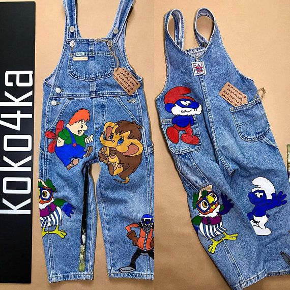 c8f50539 Children's festive clothing Children's party Baby denim overalls Holiday  baby clothing Cartoon chara