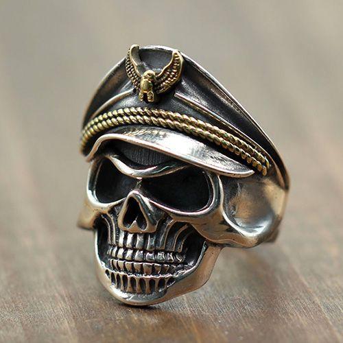 Men's Sterling Silver Eagle Hat Skull Ring