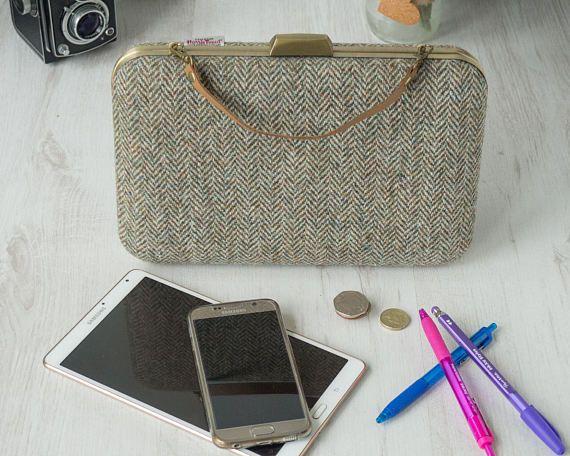 Harris Tweed Tablet hard clutch purse large box clamshell