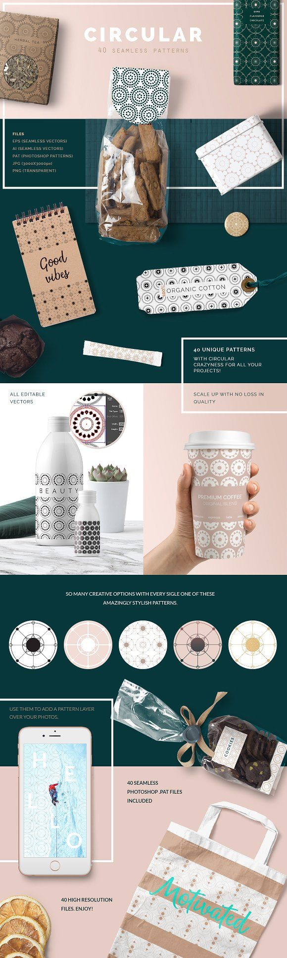 Circular Patterns Set by Youandigraphics on @creativemarket