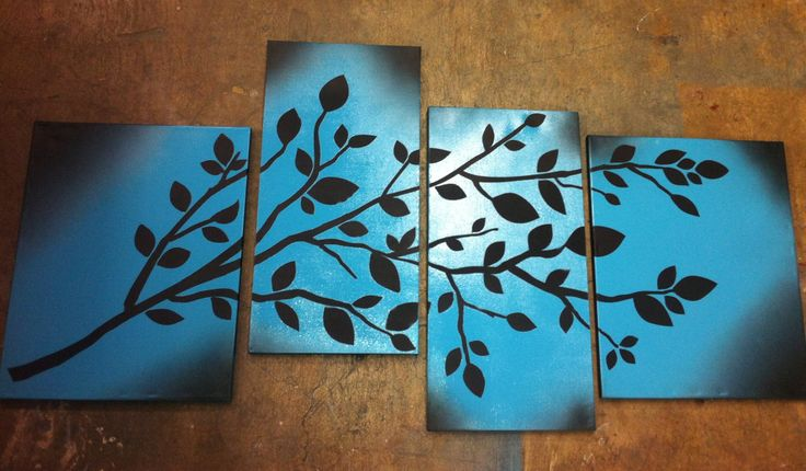 From scratch! DIY Canvas Art!  Blank canvasses, 2 diff color spray paints and choose a wall art sticker. Paint the canvas all one color then let dry and place sticker/arrange your design then spray paint all over again let dry then remove stickers and you have custom art!!!