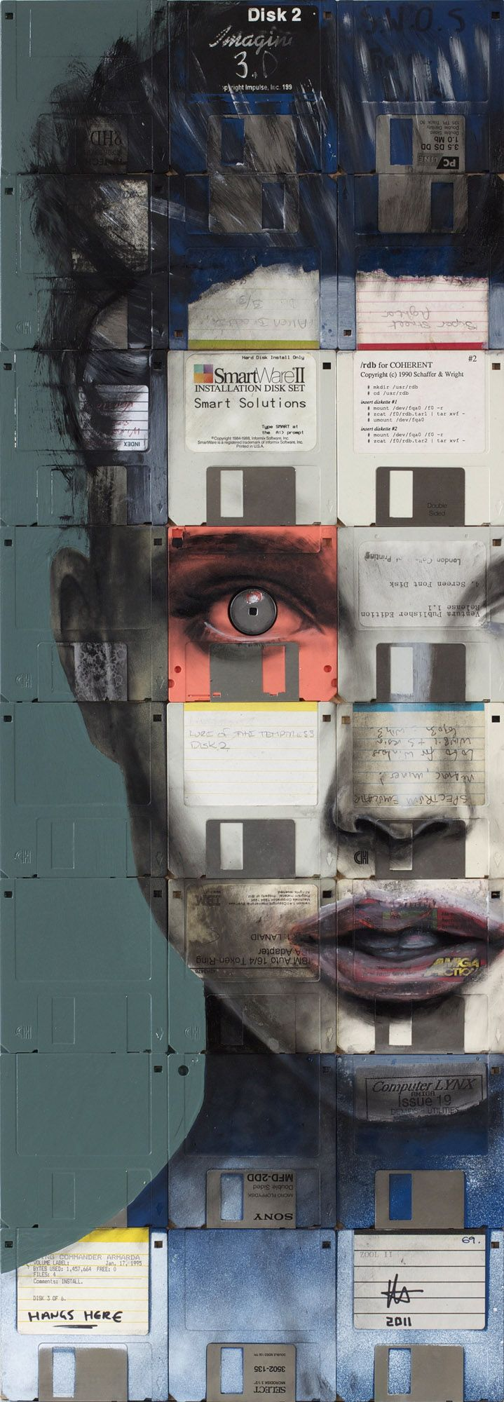 Artist: Nick Gentry // I really love the idea of recycling floppy disks as a canvas of sorts. Pretty sure I've still got hundreds of them what with being a massive hoarder, might just have to experiment sometime.
