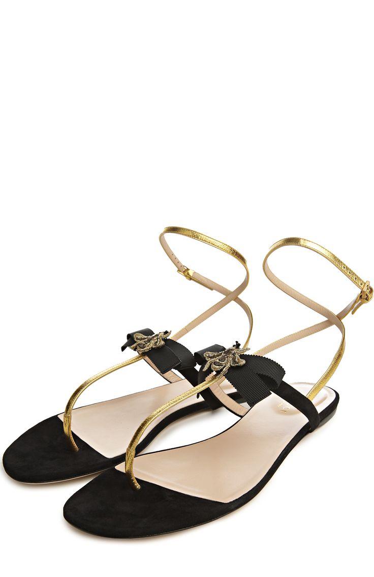 Женские черные сандалии moody Gucci, арт. 408336/BJ8N0 купить в ЦУМ | Фото №2