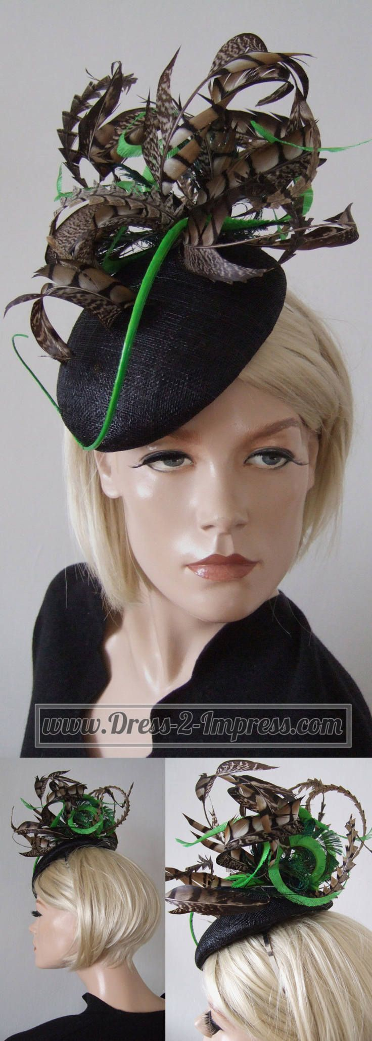 Black Green and Brown Amherst Pheasant Feathered Beret Headpiece Hat. Great fascinator for winter mother of the bride hat, with Pheasant, Peacock and Ostrich feathers. Winter Race Day Fashion. Can customise the accent colour to colours of your choice to match your outfit. Made with Love, Handmade in the UK. #peacock #pheasant #fashion #racingfashion #fashionista #fashionaddict #etsy #handmade #madeintheuk #madewithlove