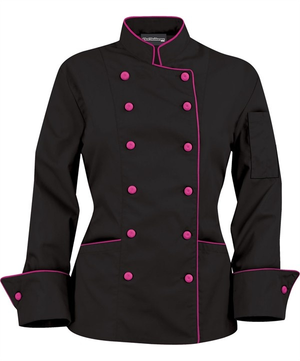For you, Tay - Black/Pink Chef Coat ... much better than the big white boxy coat you'll be wearing in culinary school!!!