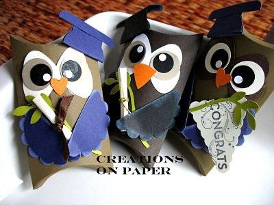 Graduation Owl Pillow Boxes - love it!