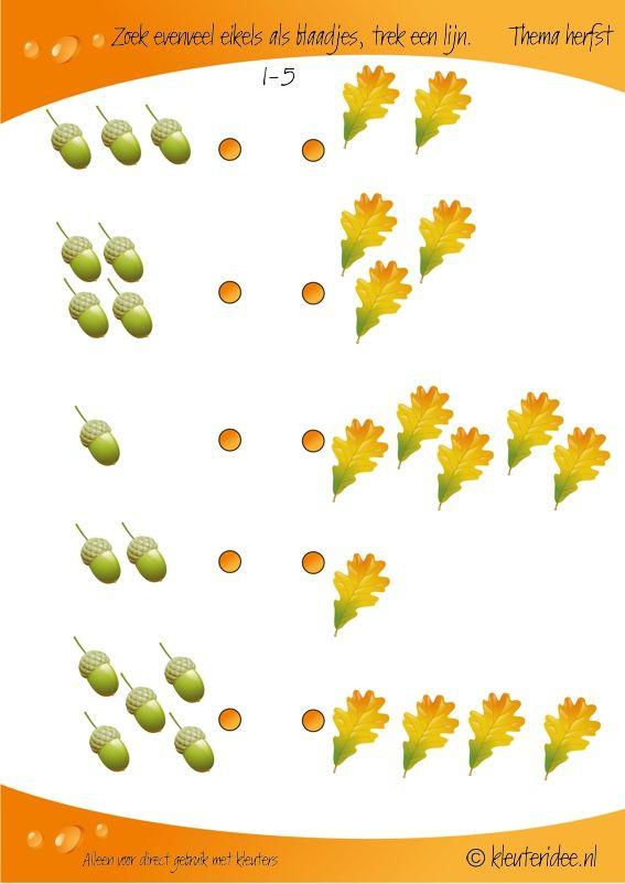 Begrippen - evenveel, eventueel meer/minder.  Zoek evenveel eikels als blaadjes 1-5, kleuteridee, rekenen thema herfst, Looking as many acorns as leaves, preschool math, free printable.