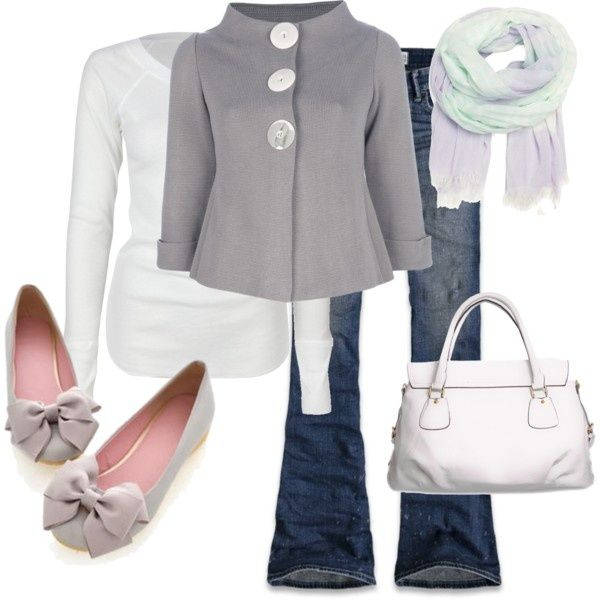 Gray and white with jeans