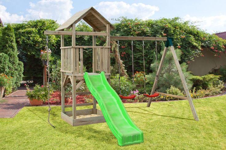 spielturm v2 inkl wellenrutsche doppelschaukel anbau und kletterseil hinterhofparadies. Black Bedroom Furniture Sets. Home Design Ideas