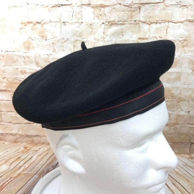 Kangol Black Beret Hat Wool Size Medium 7 57  #Kangol #Beret
