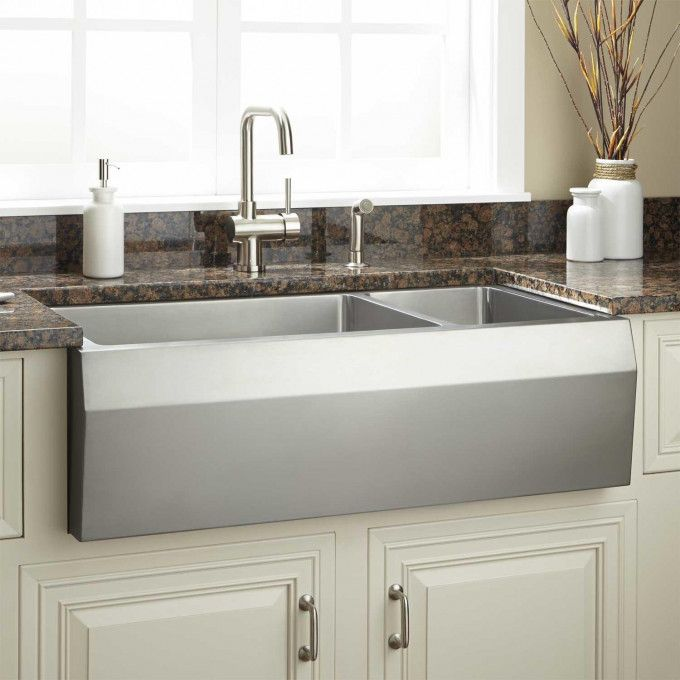 36 Kingsley 70 30 Offset Double Bowl Stainless Steel Farmhouse
