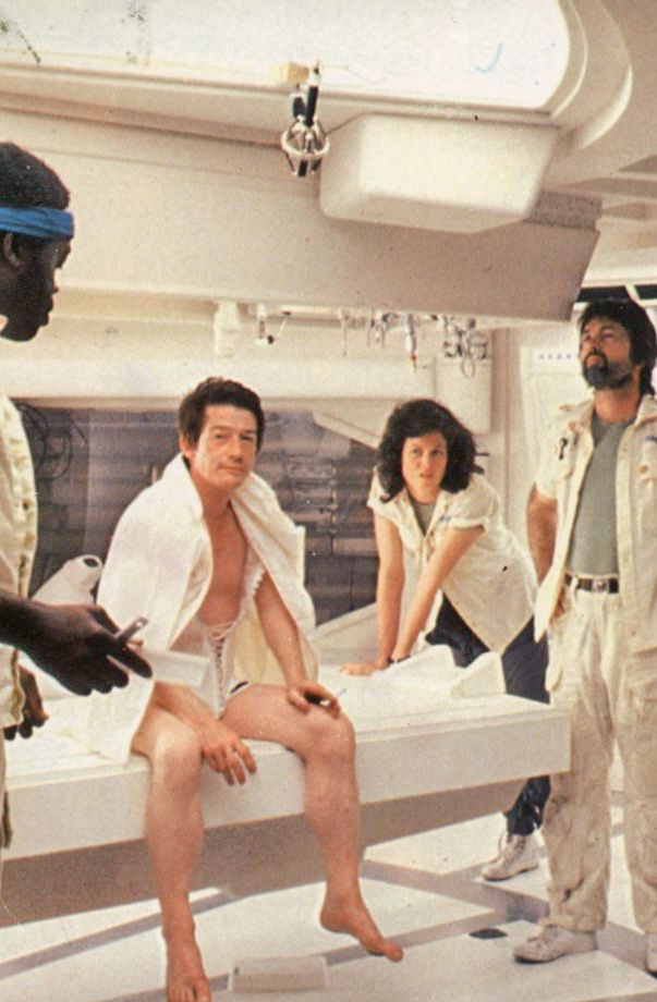 Yaphet Kotto, John Hurt, Sigourney Weaver, and Tom Skerritt on the set of 'Alien', 1979