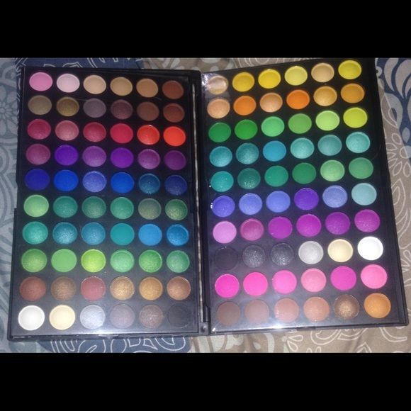 New 120 matte and shimmer eyeshadow palette Brand new never used highly pigmented 120 professional matte and shimmer eyeshadow palette. 2 x 60 eyeshadows ( stacked in a box). Disclaimer: One shadow on the second of the last row got tad bit smudged while taking the pics (pic #2). ‼️Lowest is $25. Price is firm unless bundled.trades and  lowball offers. Makeup Eyeshadow