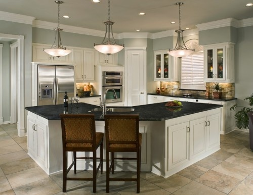 Black grey silver countertop cloud white cabinets creme for Black and silver kitchen ideas