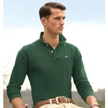 Men Polo Shirt Long Sleeve, Dark Green