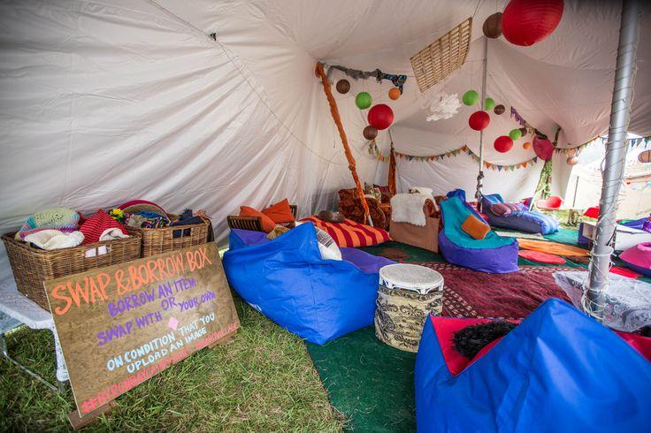 "Boho Village's ""The Lounge"" - bean bags, lounges, carpet rugs, lighting - transforming festival camping at Splendour & Falls Festivals Byron."