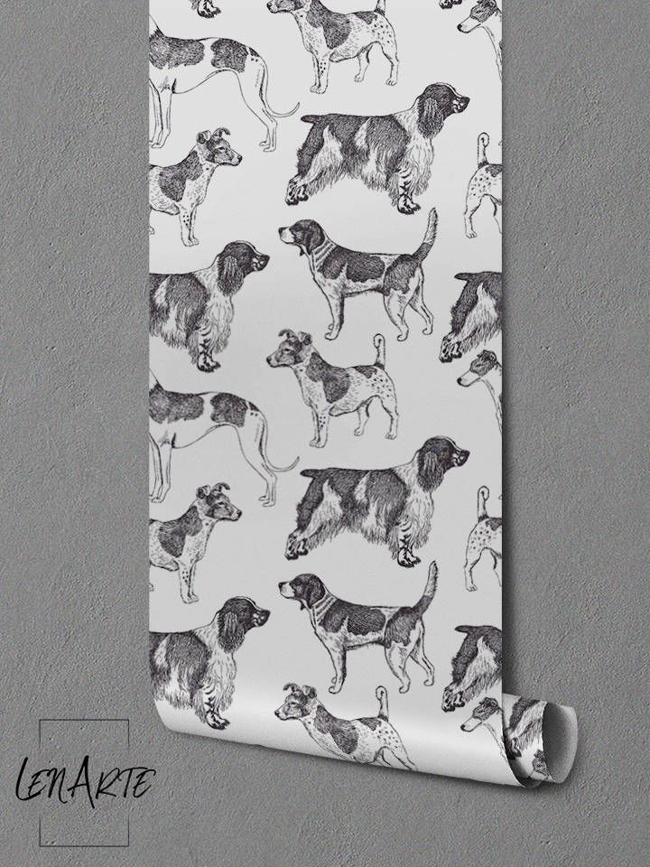 Vintage Dogs Wallpaper Black And White Romantic Pattern Vintage Removable Wallpaper Wall Decor Wall Covering Wall Sticker 99 Dog Wallpaper Wallpaper Walls Decor Vintage Dog