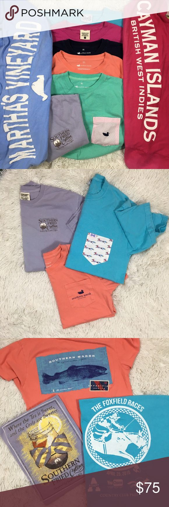 Lot of 8 Preppy T-Shirts Bundle XS/S/M 2 XS Southern Marsh long sleeve with a seersucker pocket. Rebekah spirit jersey. Retails $50 each  1 Spirit Jersey from the Cayman Islands. Retails $55  4 Short sleeve. Southern Marsh(S $30), Jadelynn Brooke(S $35) Southern Fried Cotton(S $25), and the Fraternity Collection(M $25).  1 S Spirit style jersey. Martha's Vineyard  Gently worn, some show wash wear. The Jadelynn Brooke has a small stain on the front and a sun bleached stain on the…