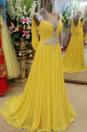 Yellow Chiffon beaded Wedding Dress Evening Dress Bridal Gown