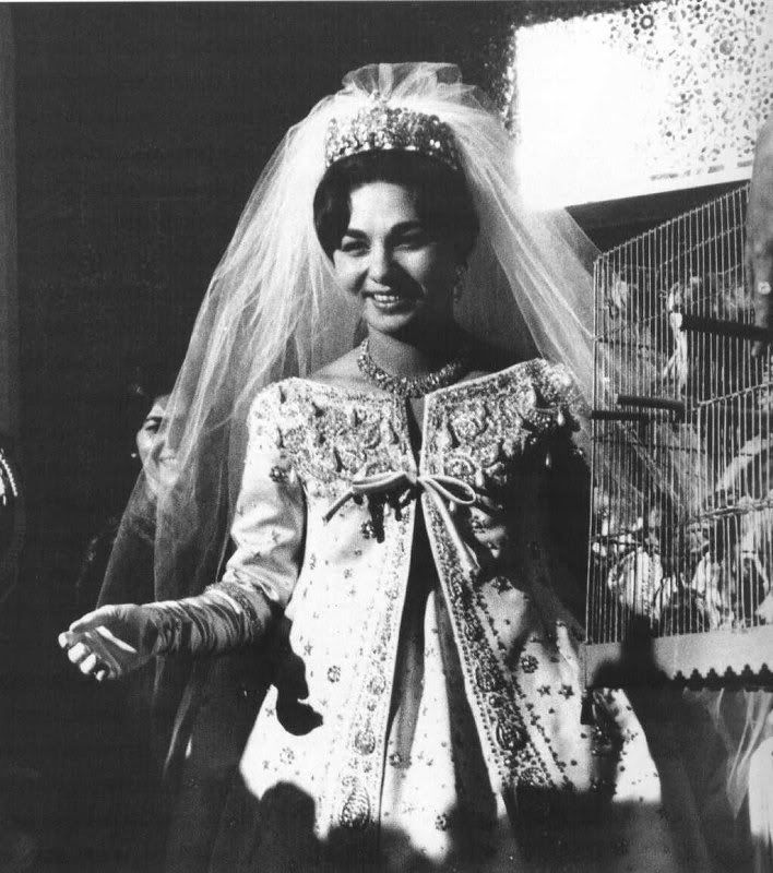 Yve Saint Laurent designed Farah Diba's wedding gown while working at Dior, 1959