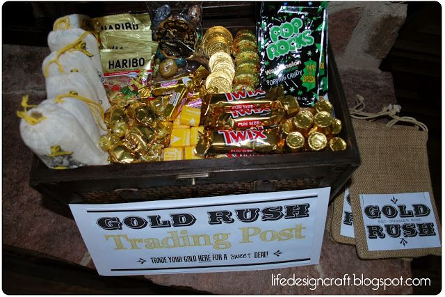 "Gold Rush Trading Post - teach about miners, gold rush, pan for ""gold"" and let them spend their gold at the trading post"