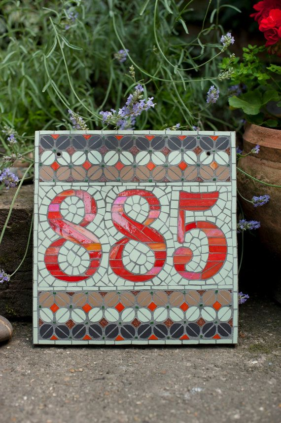 Mosaic house number by janotoole on Etsy