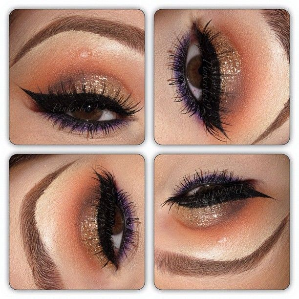 Products: Samoa silk, brown script and brun eyeshadows (Mac) in the crease. Urban decay glitter liner 'midnight cowboy' and Mac glitter in 'gold' on the lid. Top liner is blacktrack fluidline by Mac. Bottom liner is designer purple (Mac) and makeup forever eyeshadow #92. Lashes are #2 and #3 by Mac