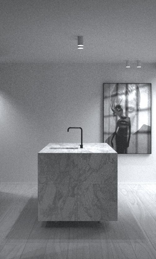 minimal kitchen in marble by Co.Studio