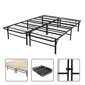 Structure de lit – Sommier ergonomique en métal 2 places XXL 200x148x36cm – Pliant et séparable – couleur noire