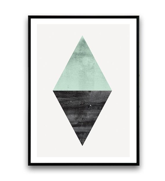 triangels abstract watercolor abstract minimalist by Wallzilla