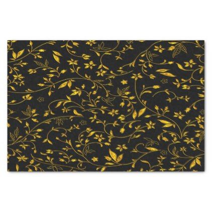 Gold leaves with black back ground tissue paper - anniversary cyo diy gift idea presents party celebration