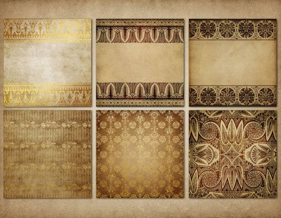 Golden Egypt Egyptian Digital Paper Hieroglyphics Scrapbook