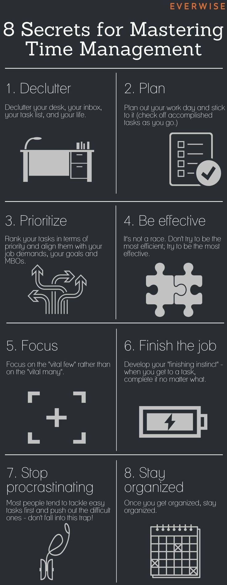 8 key time management tips https://www.geteverwise.com/career-success/infographic-8-secrets-for-mastering-time-management/