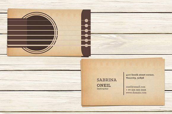 Guitar Lessons Business Card Templat Music Business Cards Business Card Psd Business Card Template Design