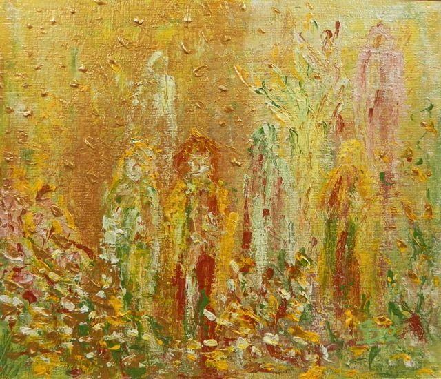 De Tuin - ©Irka Stachiw - #landschappenvandeziel #painting #art #soul #people #garden #yellow #gold #terradisienna #modernart #contemporaryart #irkastachiw