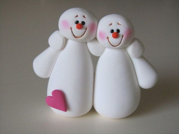Polymer+Clay+Snowman+Couple+by+ClayPeeps+on+Etsy,+$11.00