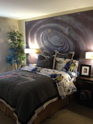 pared con decoracion de universo