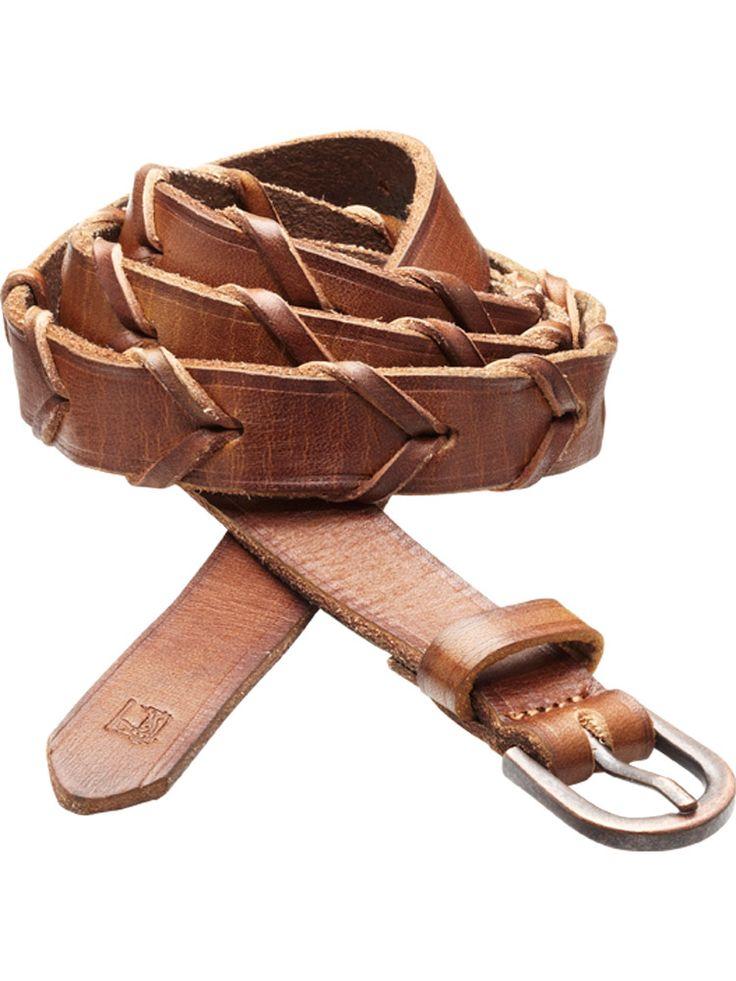 Distressed Braided Leather Belt