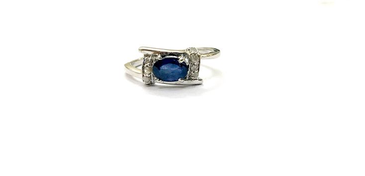BLUE SAPPHIRE RING with  single cut Diamonds ,Birthstone Ring, Blue Birthstone, September Birthstone, by BNaqshatraJewels on Etsy