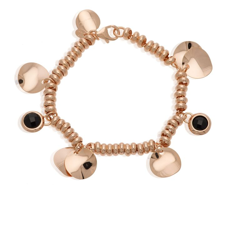 Bronzallure, bracciale placcato oro rosa composto da una catena ad anelli ovali tipo rolò con rondelle, charms a disco e piccoli charms tondi con onice nera. Ammira il made in Italy e la sua infinita creatività.