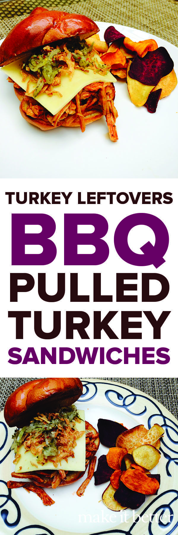 Turkey Day leftover meal: BBQ pulled turkey sandwiches using shredded ...